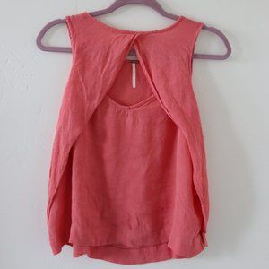 Free People Pink Front Cut-Out Tank (sz L)